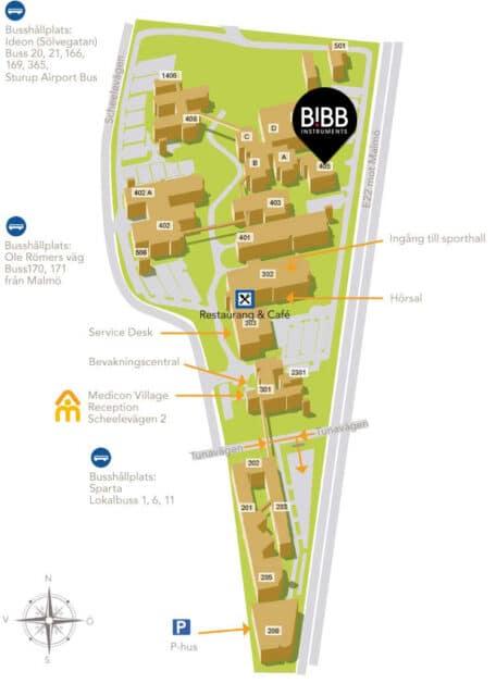 Karta över Medicon Village i Lund. Klicka för att förstora!